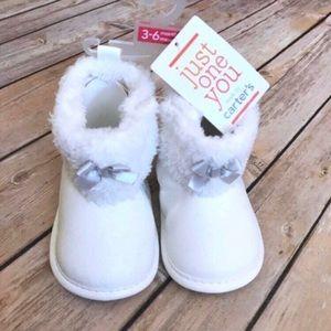 Carter's fur cuffed white velcro booties